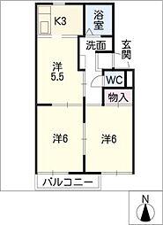 サニーヒル松ノ木 B棟[1階]の間取り