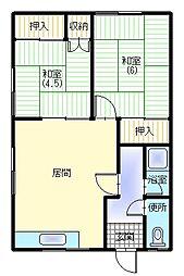 山川アパート[202号室]の間取り