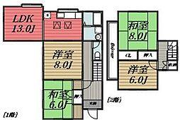 [一戸建] 千葉県千葉市若葉区桜木3丁目 の賃貸【/】の間取り