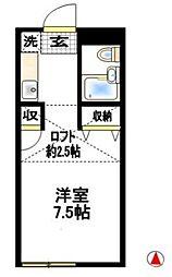 神奈川県厚木市妻田北2丁目の賃貸アパートの間取り
