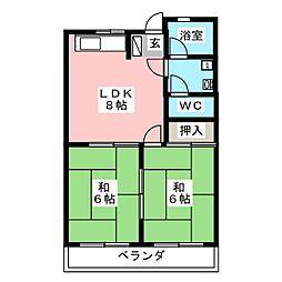 にしき今泉新町ハイツII[2階]の間取り