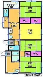神奈川県横浜市神奈川区西寺尾2丁目の賃貸アパートの間取り