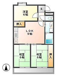 メルローズ2号館[3階]の間取り