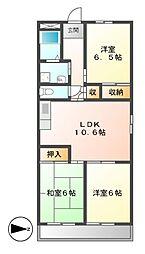 愛知県名古屋市港区本宮町8の賃貸マンションの間取り