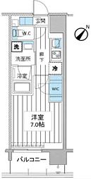 都営大江戸線 月島駅 徒歩3分の賃貸マンション 4階1Kの間取り