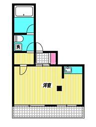 JR中央本線 国分寺駅 徒歩2分の賃貸マンション 5階ワンルームの間取り