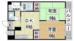 兵庫県神戸市東灘区青木2丁目の賃貸マンションの間取り