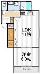 大阪府大阪市西成区天下茶屋1丁目の賃貸アパートの間取り