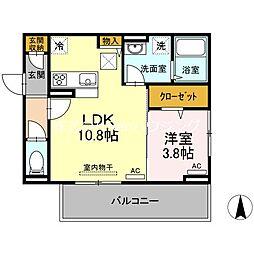 JR牟岐線 二軒屋駅 徒歩8分の賃貸アパート 1階1LDKの間取り