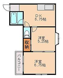 福岡県福岡市中央区桜坂1丁目の賃貸マンションの間取り