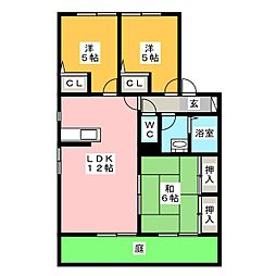 ファミーユ16 B棟[1階]の間取り