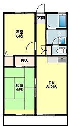 愛知県岡崎市筒針町字元流の賃貸アパートの間取り