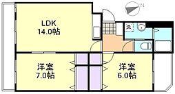 岡山県倉敷市安江の賃貸マンションの間取り