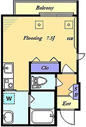 COURAGE三軒茶屋 4階ワンルームの間取り