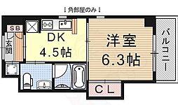 ヴォールレーベン 2階1DKの間取り