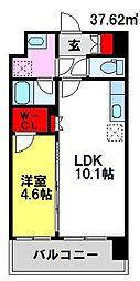 パルデンスエコノ10 9階1LDKの間取り