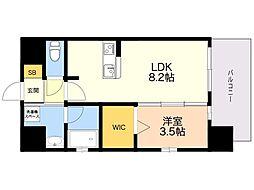 仮)LANDIC K2620 2階1LDKの間取り