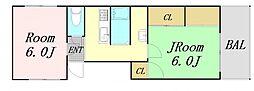 JR東海道・山陽本線 東淀川駅 徒歩5分の賃貸マンション 3階2Kの間取り