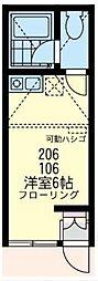神奈川県横浜市鶴見区東寺尾1丁目の賃貸アパートの間取り