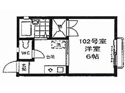 東京都中野区野方5丁目の賃貸アパートの間取り