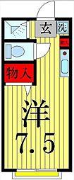 東京都足立区島根3丁目の賃貸アパートの間取り