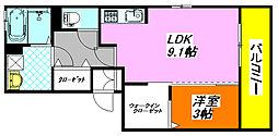 ボヌール・フルール 201号室[2階]の間取り