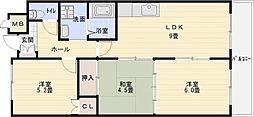 フローラルマンション[4階]の間取り