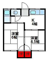 井尻荘[2階]の間取り