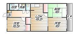 リバーコート三田[6階]の間取り