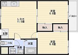 サイドテール高井田[3階]の間取り