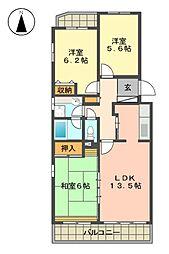 愛知県名古屋市名東区猪高台1丁目の賃貸マンションの間取り