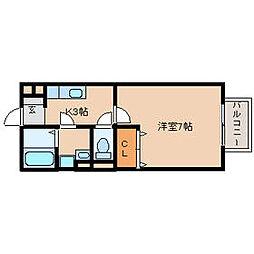 兵庫県尼崎市武庫川町1丁目の賃貸アパートの間取り