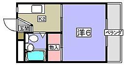 大阪府枚方市長尾家具町3丁目の賃貸マンションの間取り