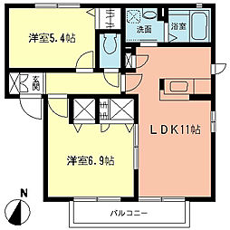 神奈川県高座郡寒川町一之宮9丁目の賃貸アパートの間取り