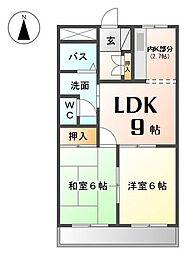 愛知県あま市篠田向島の賃貸アパートの間取り