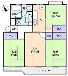 花見川ライオンズプラザ6号棟[4階]の間取り