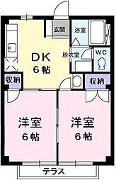 東京都青梅市日向和田3丁目の賃貸マンションの間取り
