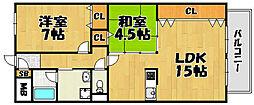 兵庫県川西市南花屋敷4丁目の賃貸マンションの間取り