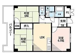 阪急千里線 南千里駅 徒歩20分の賃貸マンション 2階3LDKの間取り
