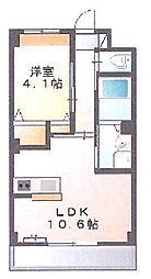 新築物件 カウンターキッチン付の日当たりの良いお部屋です。 3階1LDKの間取り