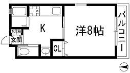 兵庫県宝塚市栄町1丁目の賃貸アパートの間取り