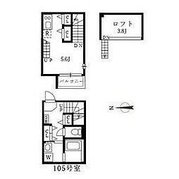 名古屋市営東山線 中村公園駅 徒歩5分の賃貸アパート 1階1SKの間取り