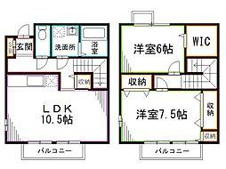 西武新宿線 上井草駅 徒歩13分の賃貸テラスハウス 2LDKの間取り