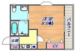 兵庫県神戸市東灘区御影中町8丁目の賃貸アパートの間取り