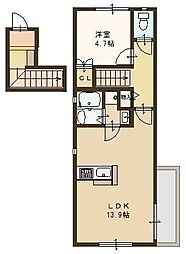阪急神戸本線 王子公園駅 徒歩7分の賃貸マンション 2階1LDKの間取り