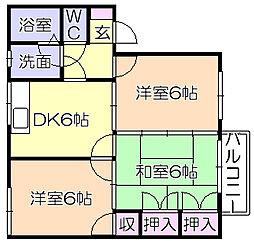 メゾンドール津福[2階]の間取り