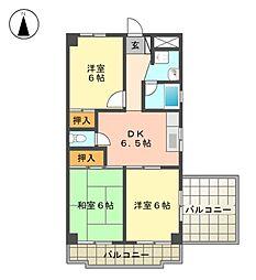 愛知県名古屋市名東区若葉台の賃貸マンションの間取り