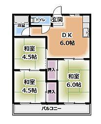 エヌハイツ 1階3DKの間取り