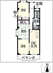 ソジュール[4階]の間取り