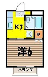 埼玉県入間郡三芳町みよし台の賃貸マンションの間取り